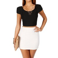 Black Cap Sleeve Crop Top