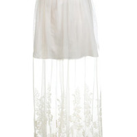 Embroidered Hem Maxi Skirt - Skirts  - Clothing