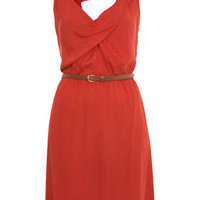 Red Cowl Neck Pintuck Dress - View All  - Dress Shop  - Miss Selfridge US