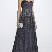 Strapless Ball Gown with Glitter Patterned Skirt - David's Bridal