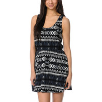Element Ashley Lace Inset Black Tribal Print Dress