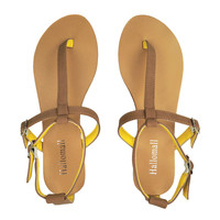 Camel & Yellow Flat Sandals