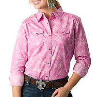 Wrangler Tough Enough To Wear Pink Women&#x27;s Pink Snake Print Long Sleeve Western Shirt
