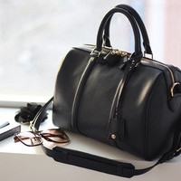 Modern Chic Black Boston Bag. Genuine Leather Tote Bag. Sofia Style Handbag