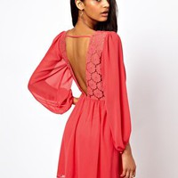 ASOS Wrap Dress With Blouson Sleeve &amp; Lace Back at asos.com
