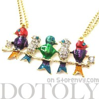 Colorful Birds on a Branch Animal Pendant Long Necklace