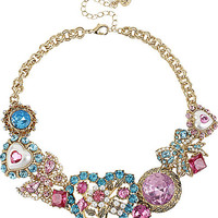 BetseyJohnson.com - HEART FRONTAL NECKLACE MULTI