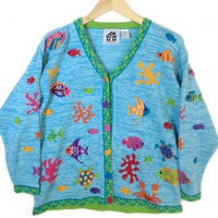 Under The Sea Quacker Factory Tacky Ugly Sweater Women's Plus Size 1X (XL) $18 - The Ugly Sweater Shop