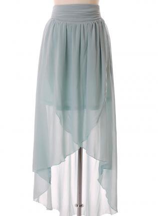 Green Long Skirt - Asymmetric Waterfall Skirt in Turquoise | UsTrendy