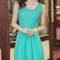 BEAUTIFUL BLUE LACE/ CHIFFON DAY DRESS