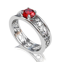 Ruby engagement ring, diamond ring, filigree engagement, red, ruby wedding ring, diamond engagement, vintage, yellow gold, white gold