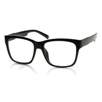 Large Retro Clear Lens Nerd Hipster Wayfarer Glasses 8789