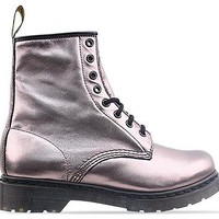 Dr. Martens 8 Eye Boot in Pewter Metallic Nappa at Solestruck.com