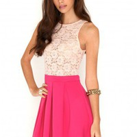 Maira Contrast Lace Pleated Skater Dress In Peach