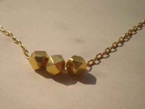 Gold beaded necklace in tiny trio by littlepancakes on Etsy