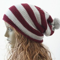 Knitted Pompom Slouchy Beanie Hat Burgundy and Light Grey | SlouchyBeanie - Knitting on ArtFire