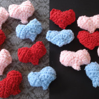 Crochet 3D hearts-love- red-pink-blue