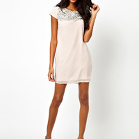 Lipsy Shift Dress with Sequin Neckline