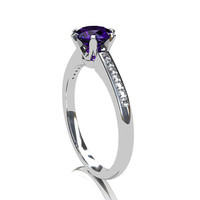 Purple sapphire ring, Diamond ring, engagement ring, sapphire engagement, unique, solitaire, diamond engagement, purple, violet
