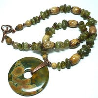 Green Garnet, Rainforest Jasper and Landscape Jasper Necklace