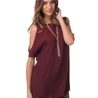 DJPremium.com - Women - Shop by Department - Tops - Hugo Opaque Cutout Shoulder Tunic