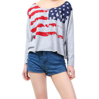 Stars and Stripes Loose Long Sleeves T-shirt