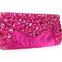 Fuchsia Evening Purse - satin fuchsia purse with fuchsia rhinestones, bridesmaids, prom handbag gift or for you NEW