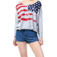 Hi,Showme — Stars and Stripes Loose Long Sleeves T-shirt