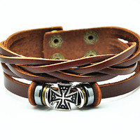 Women leather bracelet cross pendant brown Leather bracelet Charm Bracelet  high quality bracelet  RZ0240