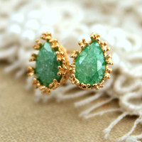 Green zircon stud earrings - 14k Gold filled.