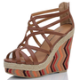 Tan Strappy Espadrilles Trim Color Stripe Platform Wedge Sesmas