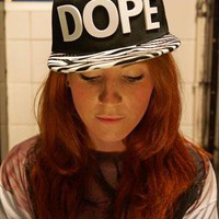 Zebra print Snapback with DOPE in white Acrylic Letters from MODU SNAPBACKS LONDON