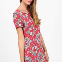Red T-shirt Dress with All Over Floral Print