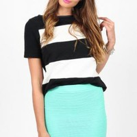 Mint Bodycon Tiered Mini Skirt