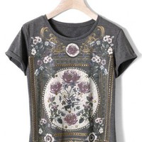 Retro Floral Painting T-shirt in Grey