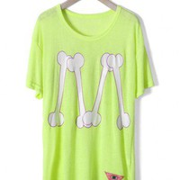 Neon Green Bone Print T-shirt