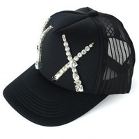 Crystal Cross Mesh Back Cap