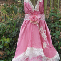 Pink lace dress silk ruffles  fairytale rose boho  vintage  romantic medium by vintage opulence on Etsy