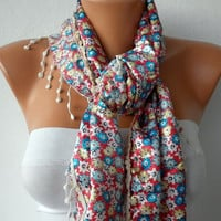 Floral Scarf Women  Scarf -  Cowl with Lace - Multicolor