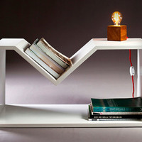 laquered plywood side table newspaper rack by nordarchitectdesign