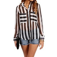 Black/White Vertical Stripe Shirt