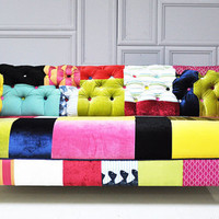 colorful chesterfield patchwork sofa by namedesignstudio on Etsy