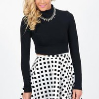 Black & White Checkered Print High Waisted Skater Skirt