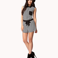 Windowpane Print Romper w/ Sash