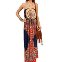Navy Paisley Printed Maxi