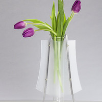 Curved Poly Vase by Julie Girardini and Ken Girardini: Metal Vase - Artful Home