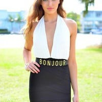 White & Black Halter Bodycon Dress with V-Neck Top
