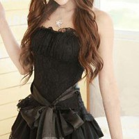 Black Straplss Sash Lace Sexy Dress 
