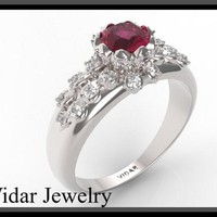 Amazing Red Ruby And Diamond 14k White Gold Engagement Ring