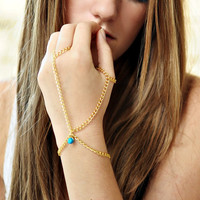 Gold Chain Slave Bracelet with Turquoise by NativeLivingJewelry